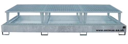 Steel IBC sump pallet trio complete with raised platform