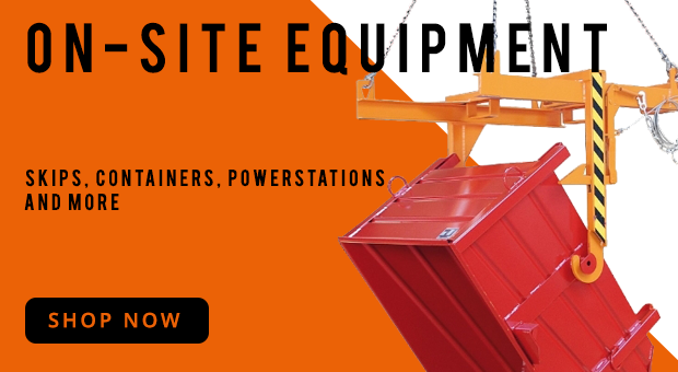 On-site equipment. Skips, Containers, Power Stations.